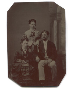 Antique 1/6 Plate Tintype Photograph Two Women & Man Group Photo Tinted Cheeks