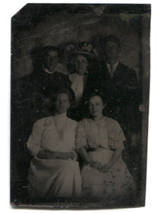 Antique 1/6th Plate Tintype Photograph of Two Men & Three Women in Studio Portrait