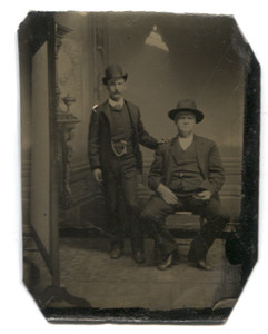Antique 1/6th Plate Tintype Photograph of Two Men Together Studio Portrait with Uncropped Props