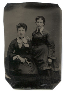 Antique 1/6th Plate Tintype Photograph of Two Victorian Woman with Rosey Cheeks