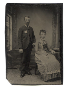 Antique 1/6th Plate Tintype Photograph of Victorian Man and Woman in Studio Portrait