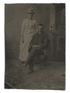 Antique 1/6th Plate Tintype Photograph of Young Victorian Couple