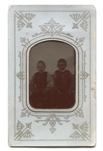 Antique 1/9th Plate Tintype Photograph of Two Young Victorian Boys in Matte