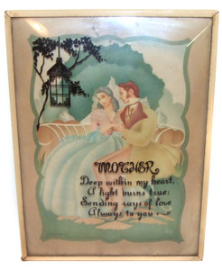 1941 Convex Silhouette Mother Poem and Print