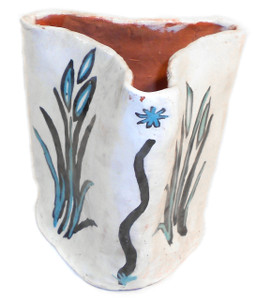 Vintage 8th Grade Student Art Pottery Vase with Painted Flowers by Chris Robbins