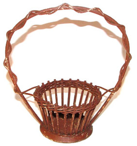 Antique Shabby Brown Wicker Funeral Basket - 11 inch