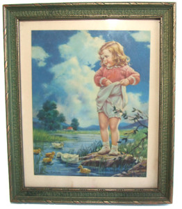 1930's Art Deco Pressed Wood Polychrome Picture Frame w/ Little Girl Print - 6 3/4 inch