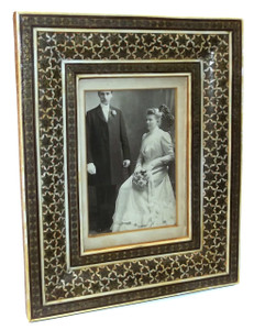 Vintage Inlaid Brass, Bone & Wood Inlaid Marquetry Picture Frame Parquetry