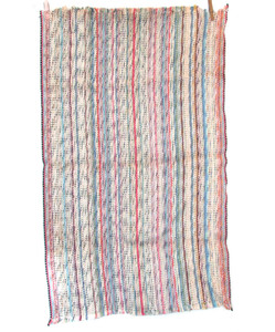 Handmade Vintage Multi-Color Striped Rag Rug 23 X 38""
