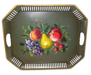 Octagonal Vintage Nashco Products Hand-Painted Fruit Decorated Tin Tole Tray
