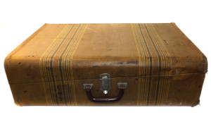 Vintage Art Deco Striped Tweed Travelure by Mendel Suitcase Trunk - Great for Luggage Stacks