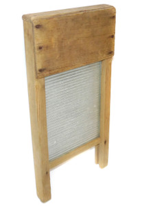 Primitive Antique Small Wooden Lingerie Washboard w/ Glass Insert