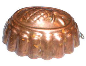 Old Heavy Copper Vintage Oval Food Mold with Pineapple Design