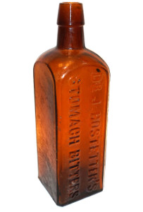 Antique Amber Glass Dr. J. Hostetter's Stomach Bitters Bottle Cure Remedy