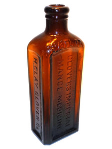 Antique Amber Glass H. Clay Glovers Imperial Mange Medicine Bottle