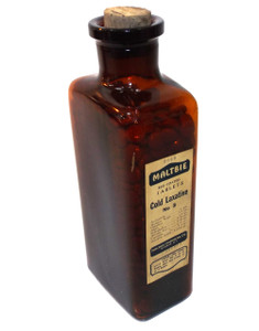 Antique Maltbie Cork Top Cold Laxative No. 3 Full Amber Glass Apothecary Medicine Pill Bottle
