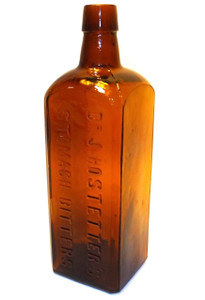 Antique McKee & Co. Amber Glass Dr. J. Hostetter's Stomach Bitters Bottle