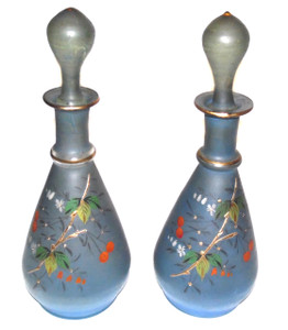 Pair of Antique Hand Blown and Hand-Painted Glass Victorian Barber Bottles