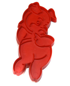 Vintage Tupperware Red Plastic Pig Shaped Cookie Cutter