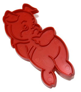 Vintage Tupperware Red Plastic Piggy Shaped Cookie Cutter