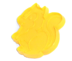 Yellow Plastic Squirrel Shaped Vintage Impression Cookie Cutter