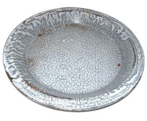 Antique Gray Splatter Graniteware Porcelain Enamelware Pie Pan Dish 10""