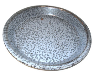Antique Gray Splatter Graniteware Porcelain Enamelware Pie Pan Dish 9 3/4""