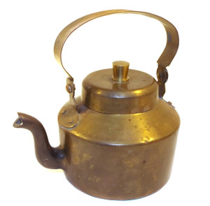 Heavy Solid Brass Vintage Teapot with Lid