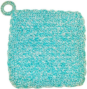 Handmade Crocheted Hotpad Cloth Trivet With Silver String