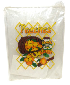 Retro NOS Vintage 1970's Clear Plastic Cutting Board with Peaches Graphics
