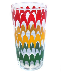 1950's Mid-Century Red, Yellow & Green Drinking Glass