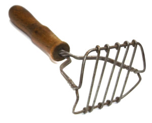 Vintage Wood Handled Kitchen Masher Tool with Odd Loose Wire End