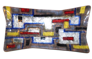 Vintage Mid-Century Modern Abstract Geometric Enameled Copper Tray