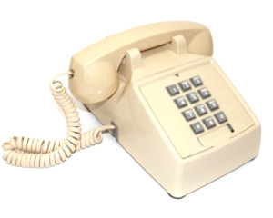 Vintage Retro Premier Tan Colored Plastic Push Button Desk Phone Telephone