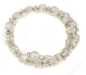 Vintage Clear Crystal Faceted Glass Bead Memory Wire Bracelet