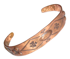 Vintage Copper Bell Trading Post Stamped Copper Tribal Cuff Bracelet with Phoenix Birds