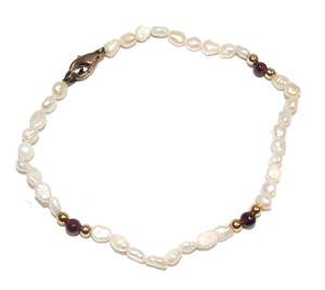 Vintage Freshwater Pearl Bracelet w/ Gold Plated & Oxblood Beads
