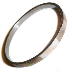 Vintage Silver Tone Bangle Bracelet w/ Mother of Pearl Inlay