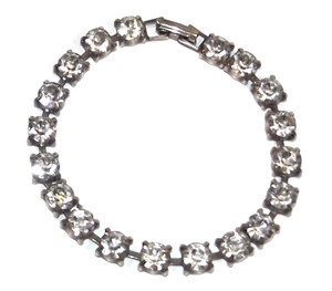 Vintage Silver Tone Bracelet with Prong Set Clear Rhinestones - 7 Inch