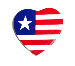 American Red White Blue Flag Heart Brooch