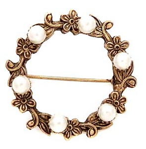 Antiqued Floral Wreath Brooch with Faux Pearl Accents