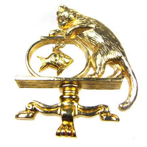 Avon Gold Tone Figural Cat With Dangling Fish in Bowl Brooch