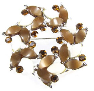 Brown and White Moonglow Lucite Rhinestone Wreath Brooch