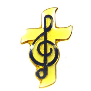 CTA Gold Tone Enameled Cross with Clef Pin