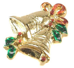 Enameled Gold Tone Christmas Bell Brooch