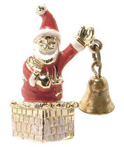 Enameled Gold Tone Santa Claus Articulated Figural Brooch