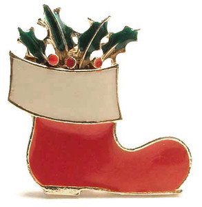Enameled Stocking Holly Boot Christmas Brooch