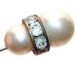 Faux Pearl Channel Set Crystal Stick Pin