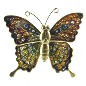 Figural Brass Butterfly Brooch With Glittered Lacquer Wings