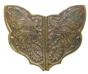 Antique Embossed Brass Art Nouveau Butterfly Sash Pin Brooch